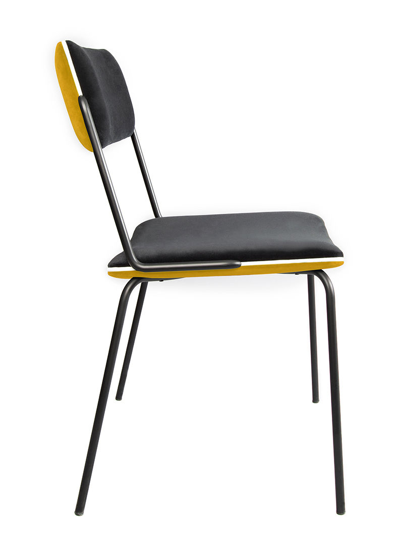Möbel - Stühle  - Double jeu Gepolsterter Stuhl / Velours - Maison Sarah Lavoine - Ocker / Schwarz - Holz, lackierter Stahl, Schaumstoff, Velours