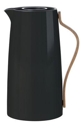 Tischkultur - Tee und Kaffee - Emma Isolierkrug / 1,2 l - Stelton - Schwarz & holzfarben - Buchenfurnier, rostfreier lackierter Stahl