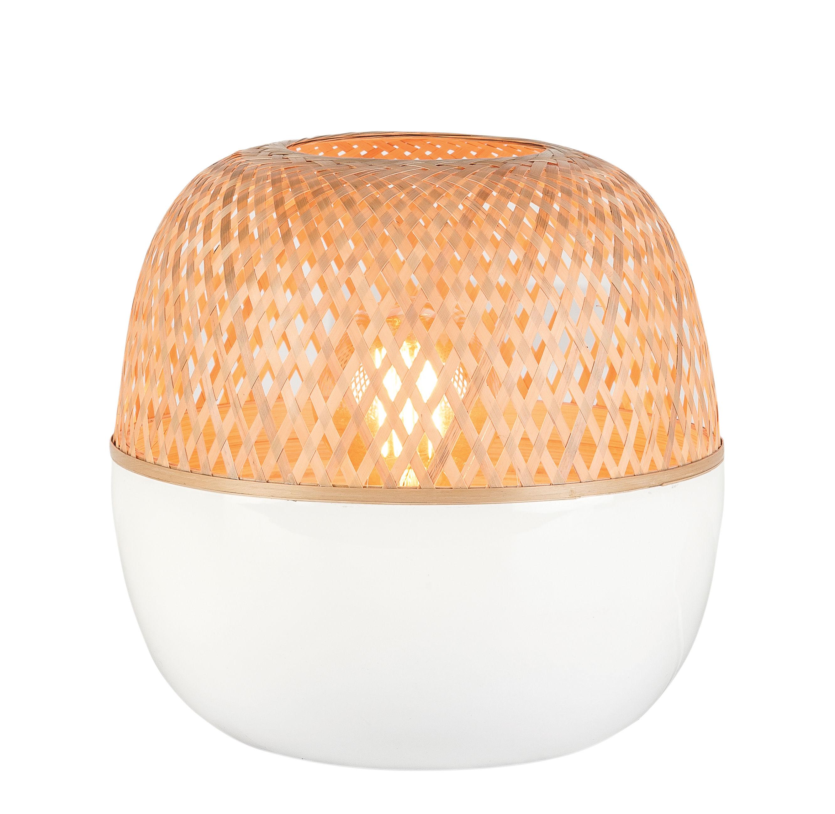 Illuminazione - Lampade da tavolo - Lampada da tavolo Mekong - / Bambù - Ø 30 x H 33 cm di GOOD&MOJO - Bambù & bianco - Bambou peint, Banbou naturel tressé