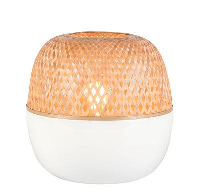 Lampe de table Mekong / Bambou - Ø 30 x H 33 cm - GOOD&MOJO blanc,bambou naturel en bois