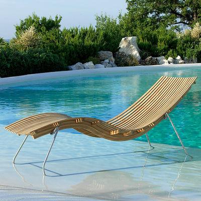 Outdoor - Sdraio, lettini e amache - Lettino da sole Swing - / Con supporto in acciaio di Unopiu - Teack / Supporto acciaio - Acciaio inossidabile, Teck