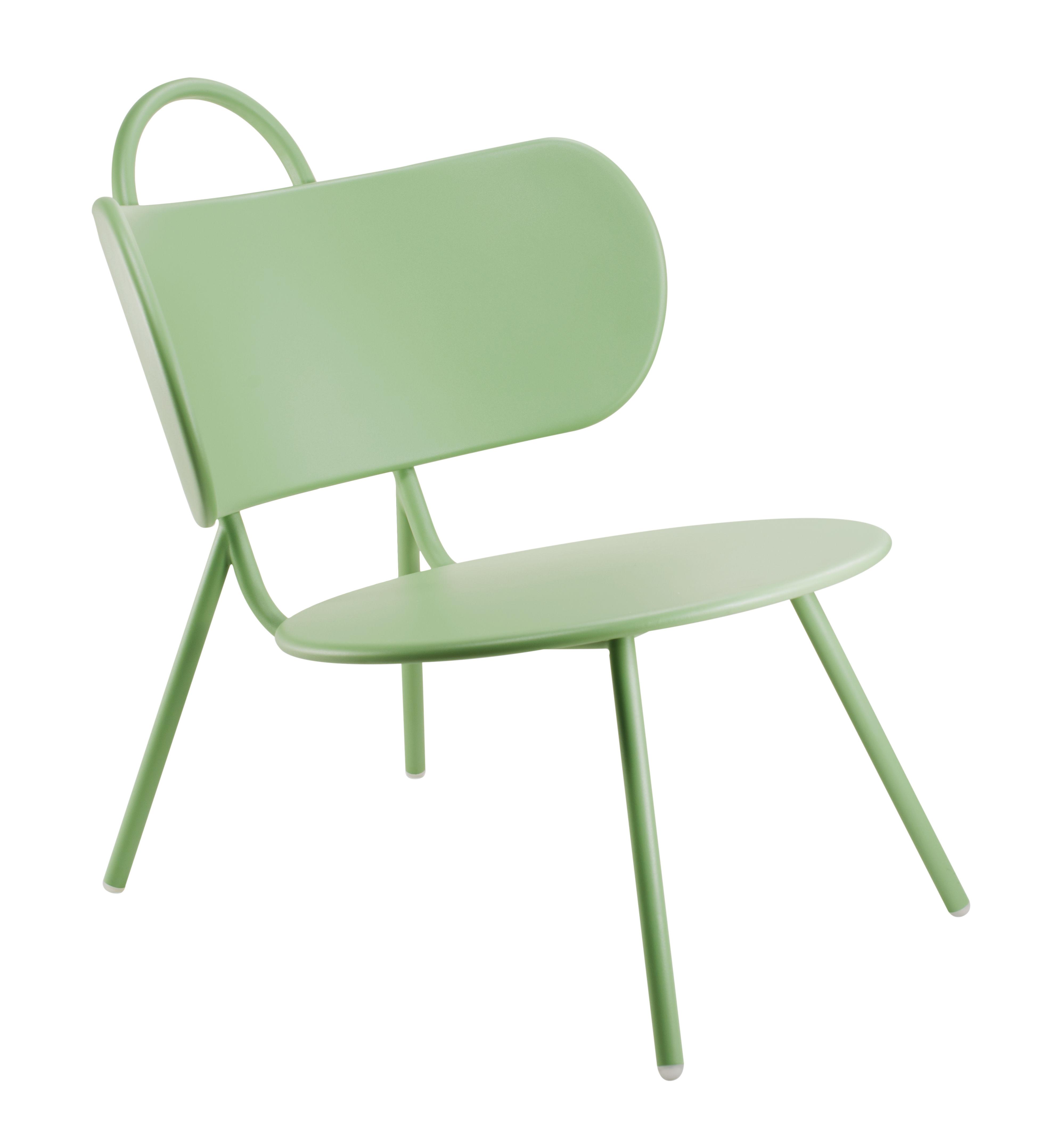 Furniture - Armchairs - Swim Low armchair - Indoor & outdoor - Metal by Bibelo - Light green - Epoxy lacquered steel