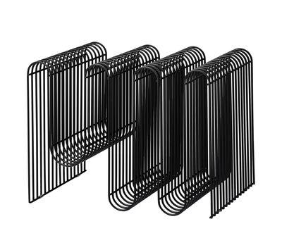 Decoration - Boxes & Baskets - Curva Magazine holder - / L 40 x H 30 cm by AYTM - Noir - Painted iron