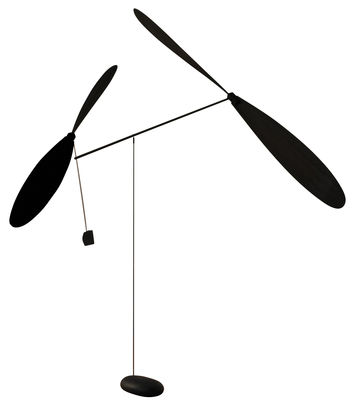 Decoration - Home Accessories - Mobile - Two propellers by L'atelier d'exercices - Black - Concrete, Rope, Wood
