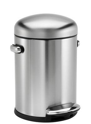 Accessori - Accessori bagno - Pattumiera a pedale Retro - / 4,5 L di Simple Human - Acciaio spazzolato - Acciaio satinato