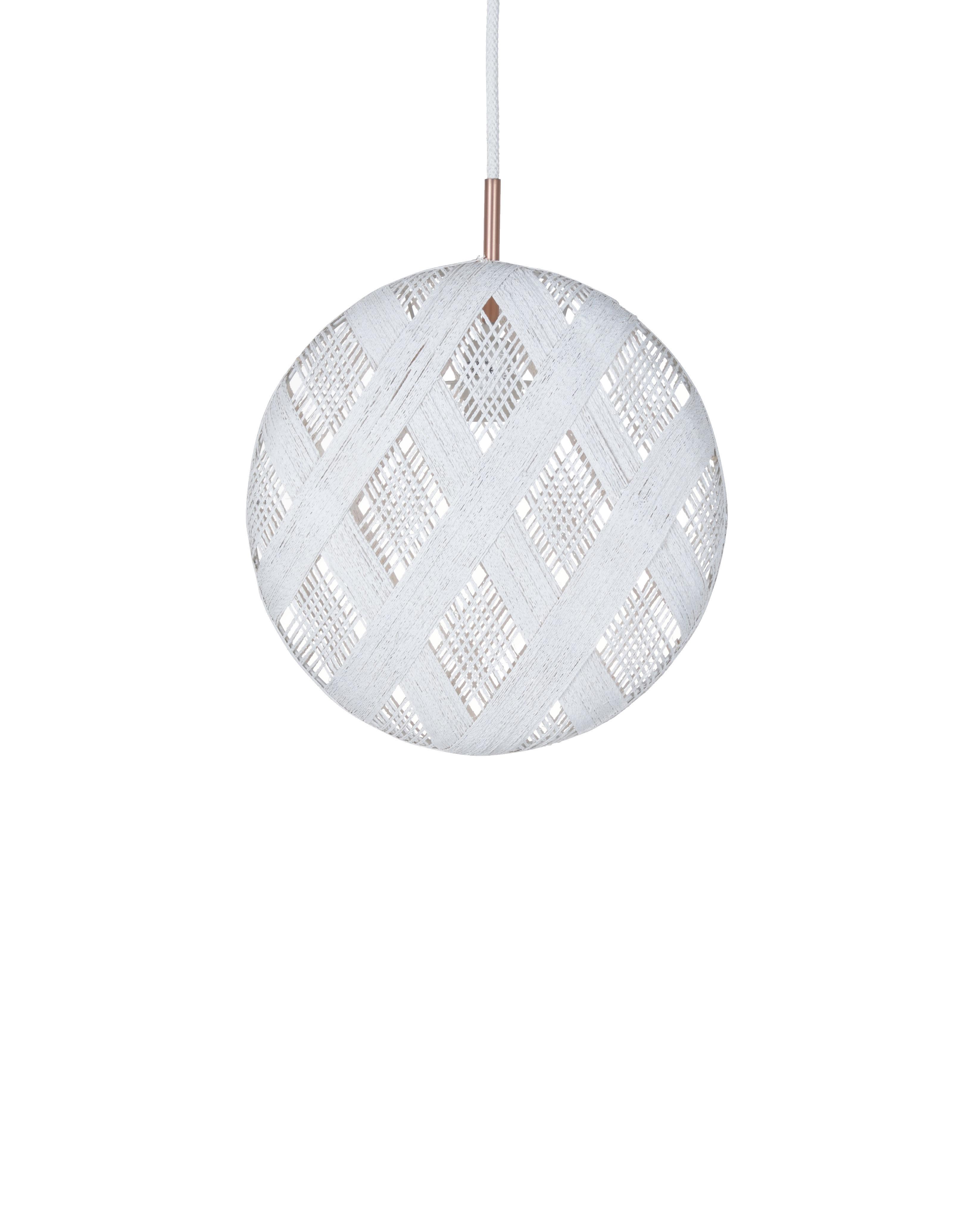 Lighting - Pendant Lighting - Chanpen Diamond Pendant - Ø  26 cm by Forestier - White / Diamond patterns - Woven acaba