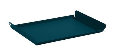 Tavola - Vassoi  - Piano/vassoio Alto - / Acciaio - 36 x 23 cm di Fermob - Blu Acapulco - Acciaio elettrozincato
