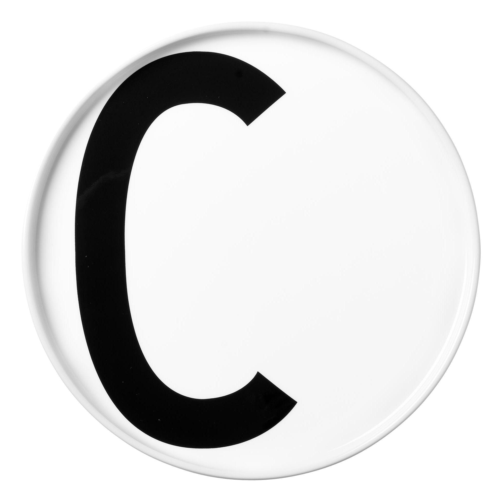 Tavola - Piatti  - Piatto Arne Jacobsen / Porcellana - Lettera C - Ø 20 cm - Design Letters - Bianco / Lettera C - Porcelaine de Chine