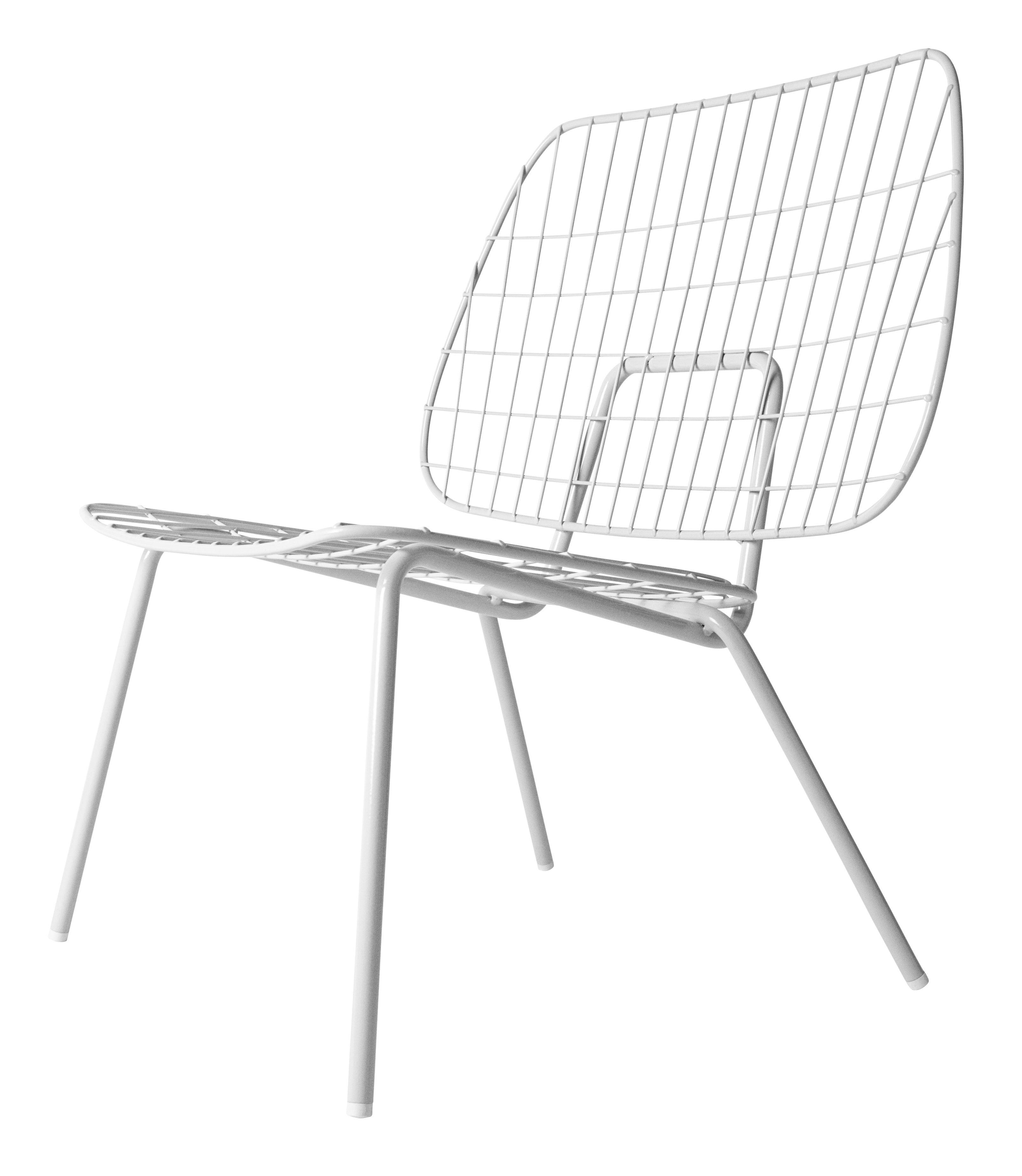 Arredamento - Poltrone design  - Poltrona bassa WM String Lounge / Acciaio - Menu - Bianco - Acier laqué époxy