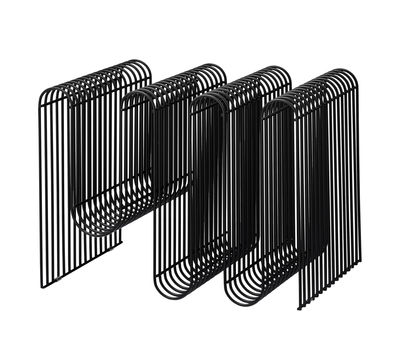 Interni - Contenitori e Cesti - Portariviste Curva - / L 40 x H 30 cm di AYTM - Nero - Ferro dipinto