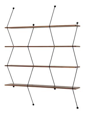 Möbel - Regale und Bücherregale - Climb Regal / L 120 cm x H 155 cm - La Chance - Nussbaum / Wandhalterungen schwarz - Metall, Nussbaum massiv
