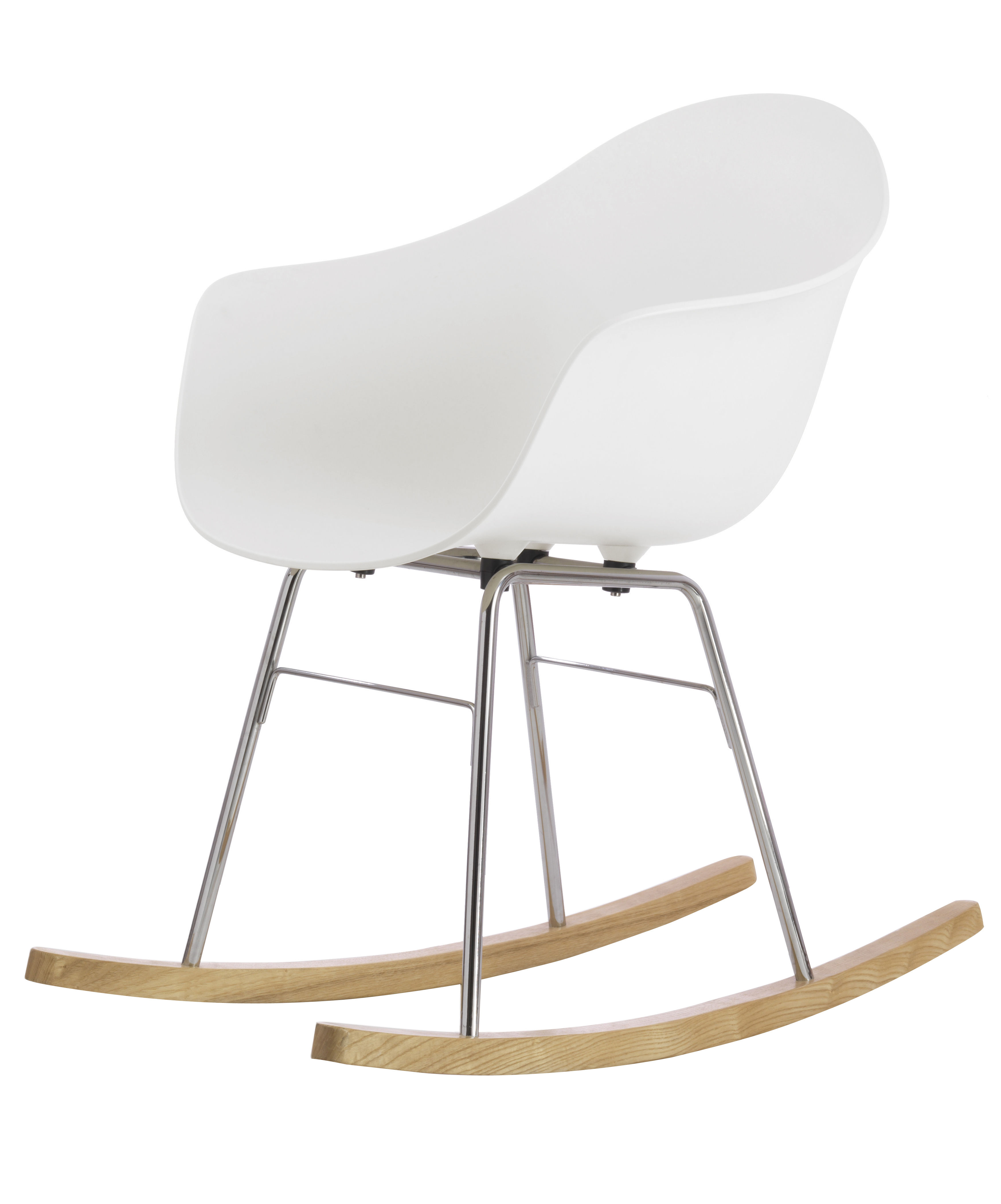 Furniture - Armchairs - TA Rocking chair - Wood sledge by Toou - White / Chromed & wood sledges - Chromed metal, Natural oak, Polypropylene
