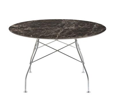 Trends - Zu Tisch! - Glossy Marble Runder Tisch / Ø 128 cm - Steinzeug in Marmor-Optik - Kartell - Braun / verchromter Fuß - Grès effet marbre, verchromter Stahl