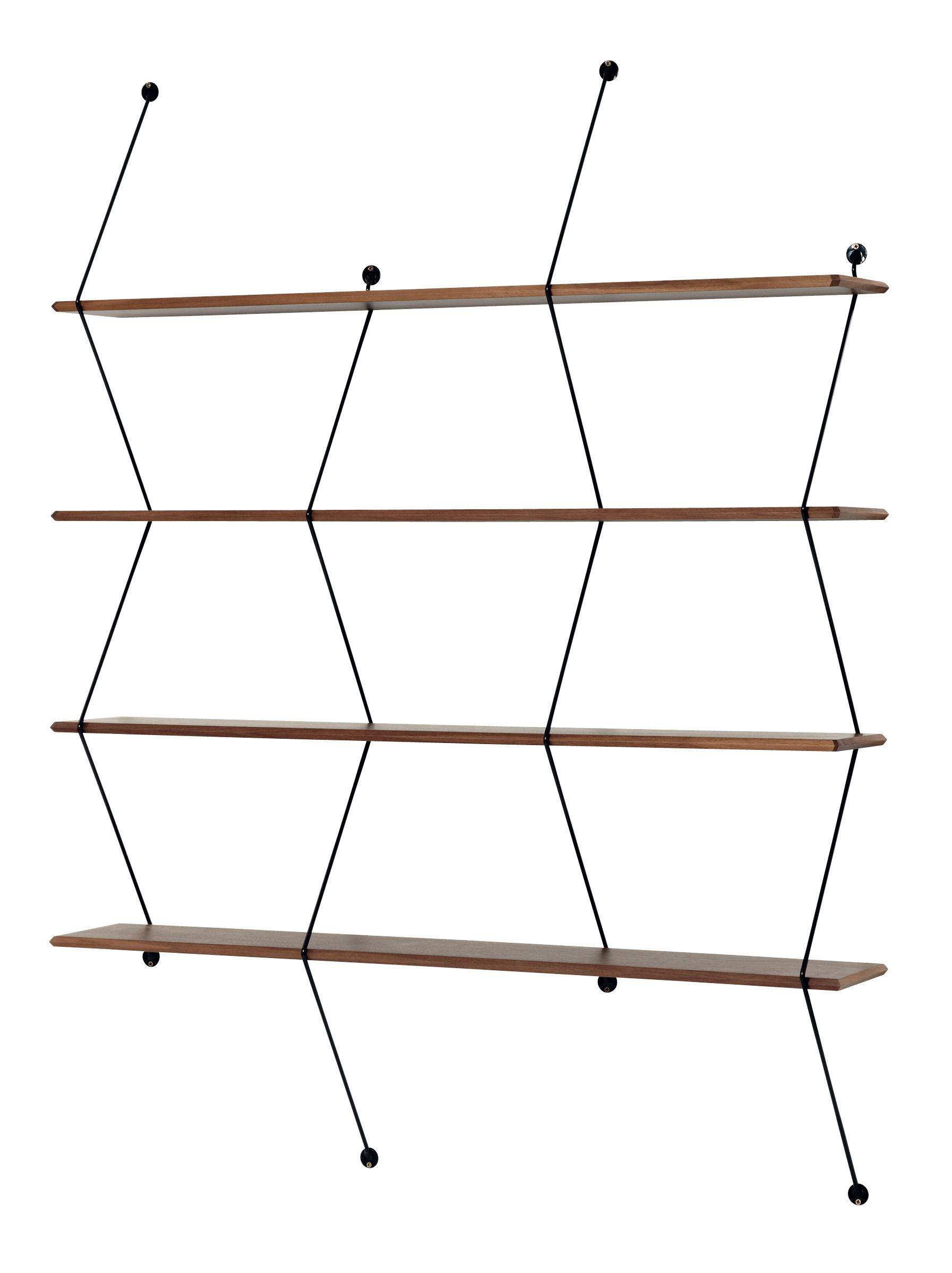 Arredamento - Scaffali e librerie - Scaffale Climb - / L 120 x H 155 cm di La Chance - Noce / Montanti neri - Metallo, Noce massello