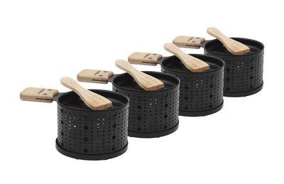 Cuisine - Ustensiles de cuisines - Set Lumi / Pour raclette à la bougie - 4 personnes - Cookut - Noir & bois - Bois, Métal