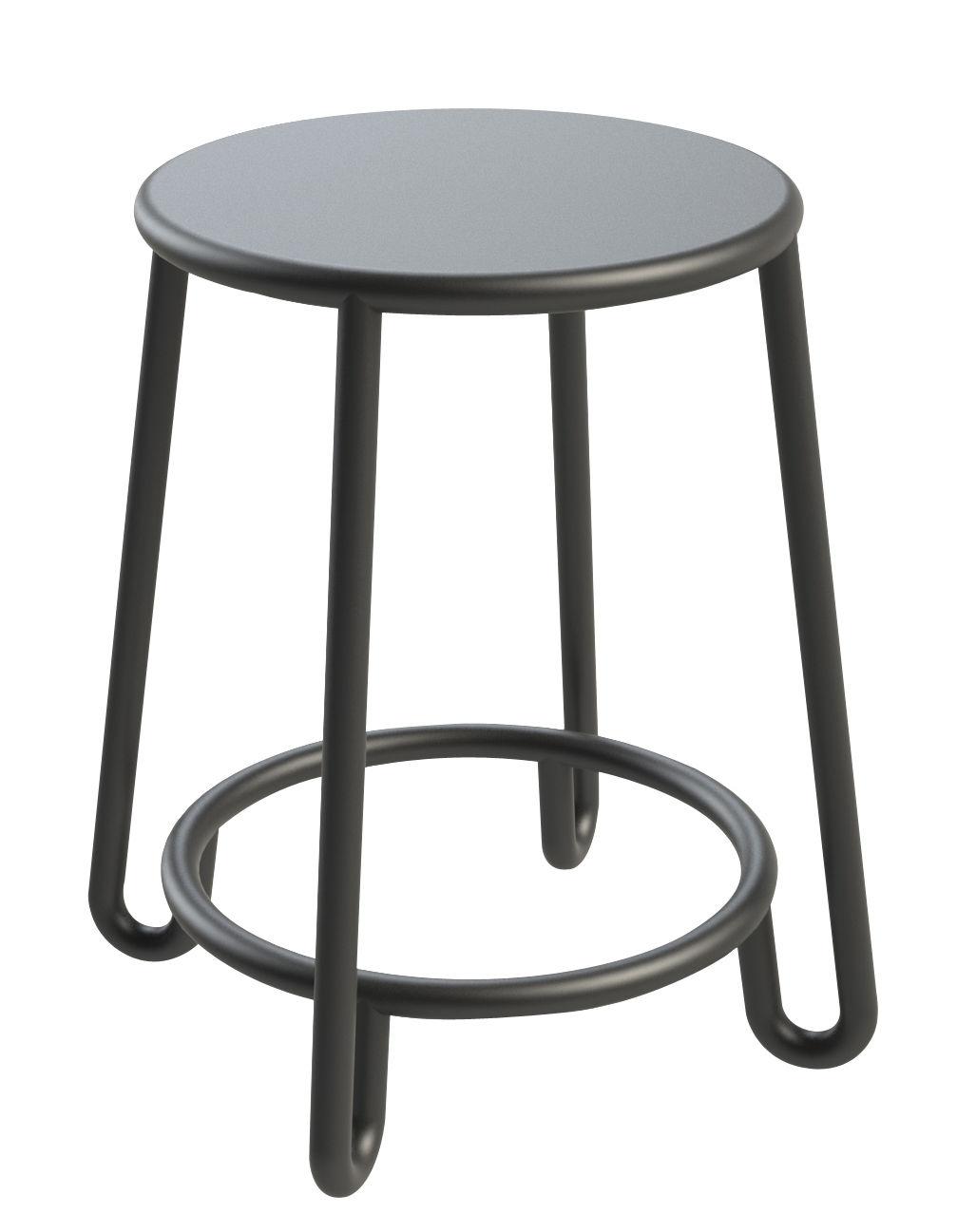 Arredamento - Sgabelli - Sgabello Huggy / H 45 cm - In esclusiva - Made in design Editions - Grigio grafite - Alluminio laccato a polvere