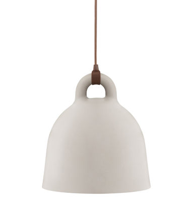 Illuminazione - Lampadari - Sospensione Bell - piccolo modello di Normann Copenhagen - Ø 35 x H 37 cm - Sabbia opaca & int. bianco - Alluminio