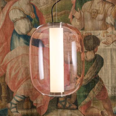Illuminazione - Lampadari - Sospensione Meridiano Grande - / LED - H 54 cm di Fontana Arte - Rose - Metallo nichelato, vetro soffiato