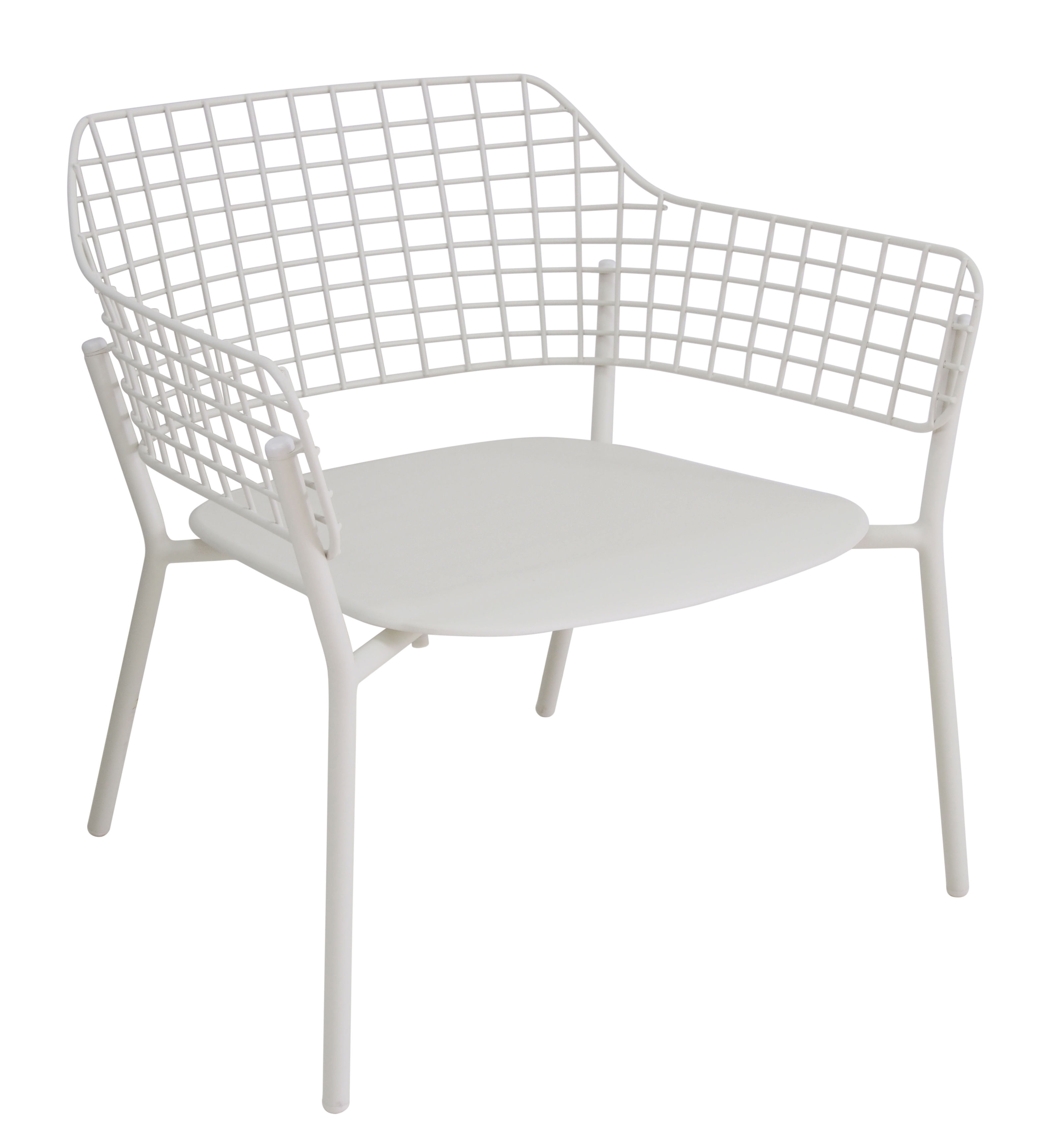 Furniture - Armchairs - Lyze Stackable low chair - Metal by Emu - Matt white - Varnished aluminium, Varnished stainless steel