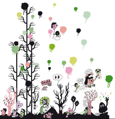 Decoration - Wallpaper & Wall Stickers - Gelati woods Sticker by Domestic - Multicoloured - Vinal