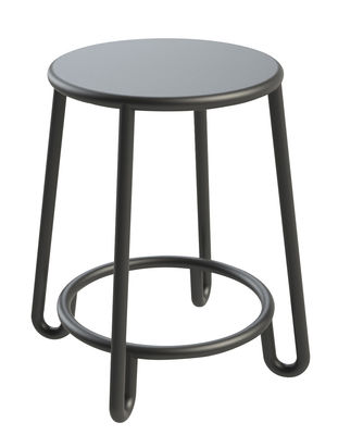 Furniture - Stools - Huggy Stool - H 45 cm - Exclusively on Made In Design by Maiori - Graphite grey - Lacquered aluminium