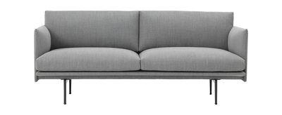 Furniture - Sofas - / L 170 cm - Tissu Straight sofa - / L 170 cm - Fabric by Muuto - Light grey (Fiord fabric) - Fabric, Lacquered aluminium