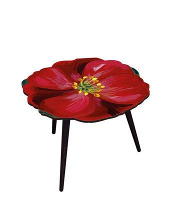 Mobilier - Tables basses - Table basse Hibiscus / Ø 61 x H 45 cm - BAZAR THERAPY - Hibiscus / Rouge - Hêtre teinté, Stratifié imprimé