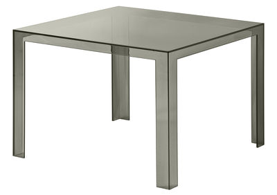 Table Invisible / 100 x 100 cm - Kartell fumé en matière plastique