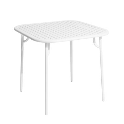Table carrée Week-end / 85 x 85 cm - Aluminium - Petite Friture blanc en métal