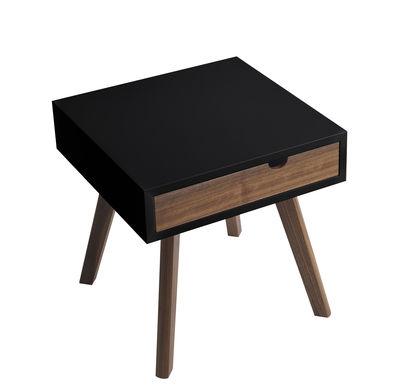 Table d´appoint Io e Te / Tiroir bicolore réversible - Horm noir,noyer en bois