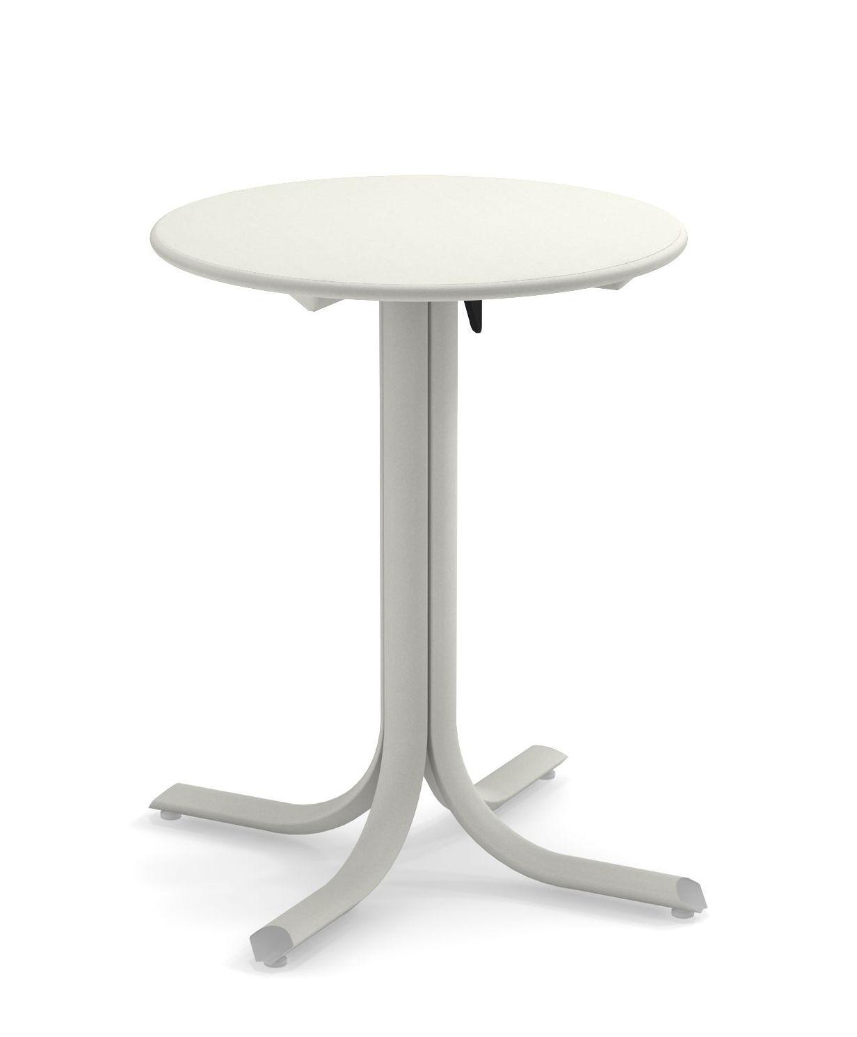 Outdoor - Tables de jardin - Table pliante System / Ø 60 cm - Emu - Blanc - Acier peint galvanisé