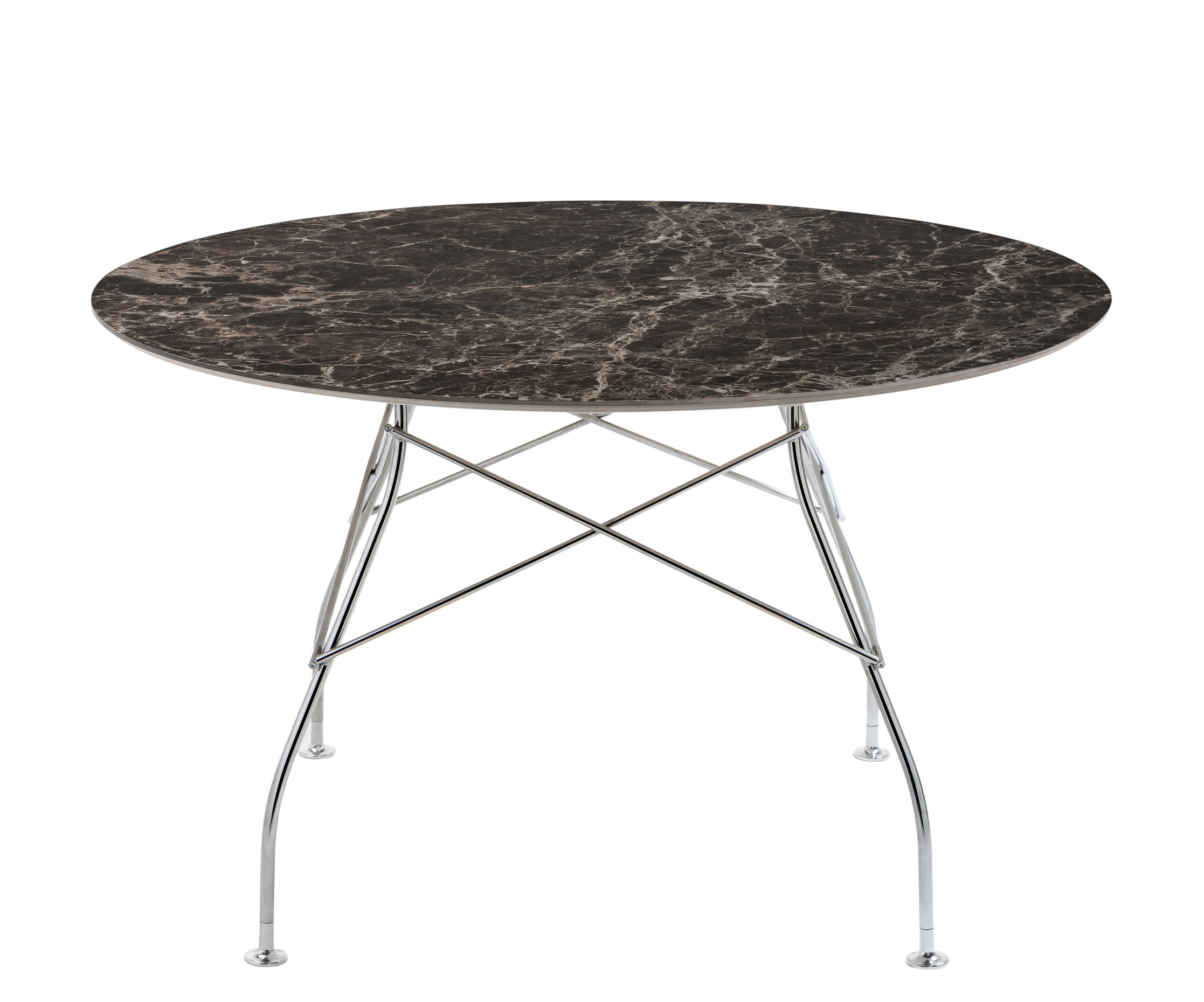 Mobilier - Tables - Table ronde Glossy Marble / Ø 128 cm - Grès effet marbre - Kartell - Marron / Pied chromé - Acier chromé, Grès effet marbre