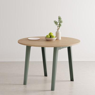 Table ronde New Modern / Ø 110 cm - Chêne éco-certifié / 4 à 6 personnes - TIPTOE gris en métal/bois