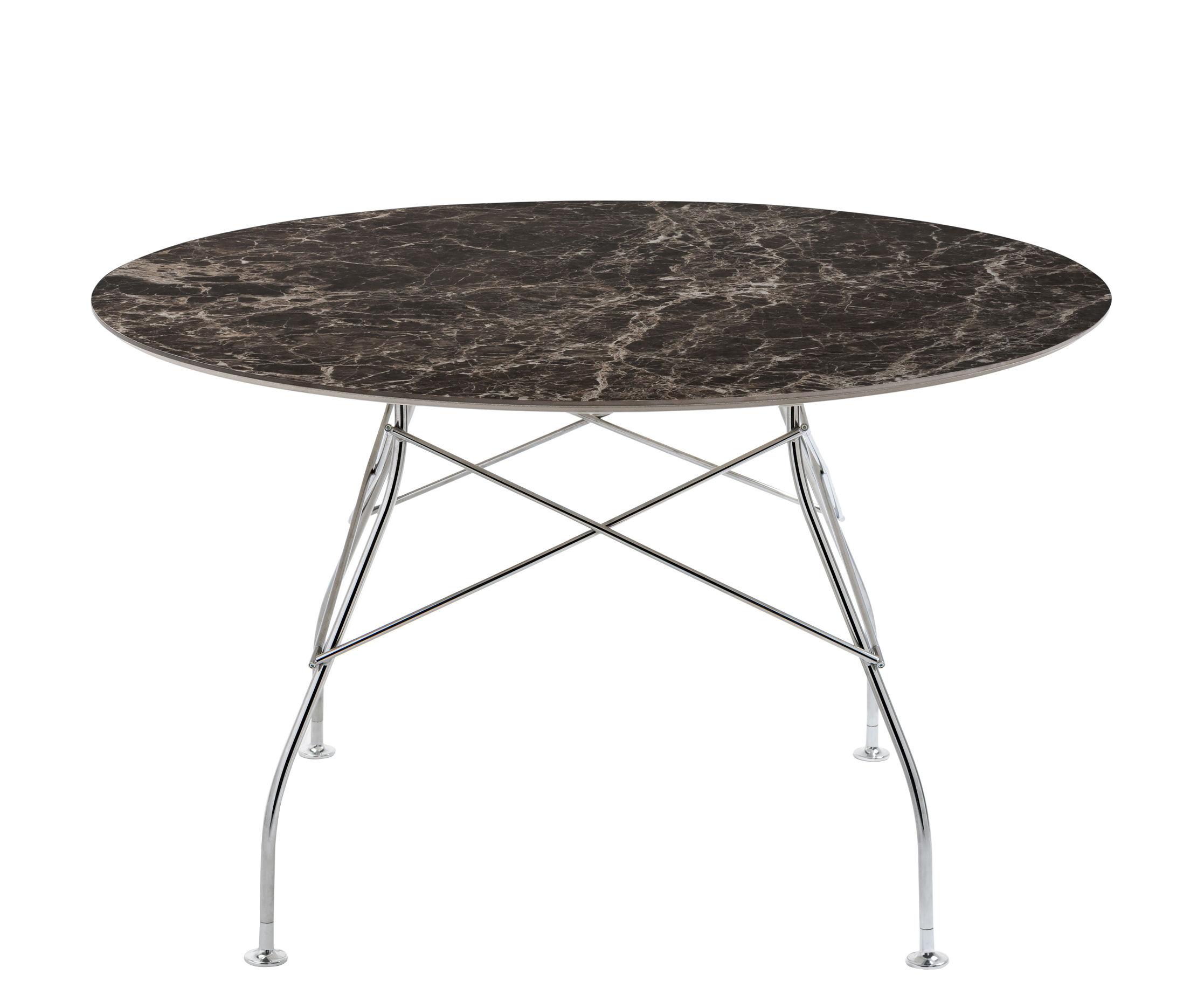 Arredamento - Tavoli - Tavolo rotondo Glossy Marble - / Ø 128 cm - Grès effetto marmo di Kartell - Marrone / Piede cromato - Acciaio cromato, Grès effet marbre