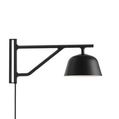 Leuchten - Wandleuchten - Ambit Wandleuchte mit Stromkabel / Schwenkarm - L 41 cm - Muuto - Schwarz - Aluminium