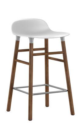 Furniture - Bar Stools - Form Bar stool - H 65 cm / Walnut leg by Normann Copenhagen - White / walnut - Polypropylene, Walnut