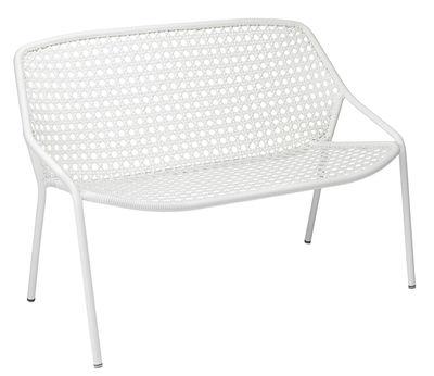 Outdoor - Poltrone e Divani - Panca Croisette / L 122 cm - Plastica intrecciata - Fermob - Bianco cotone -   Fibres synthétiques, Alluminio