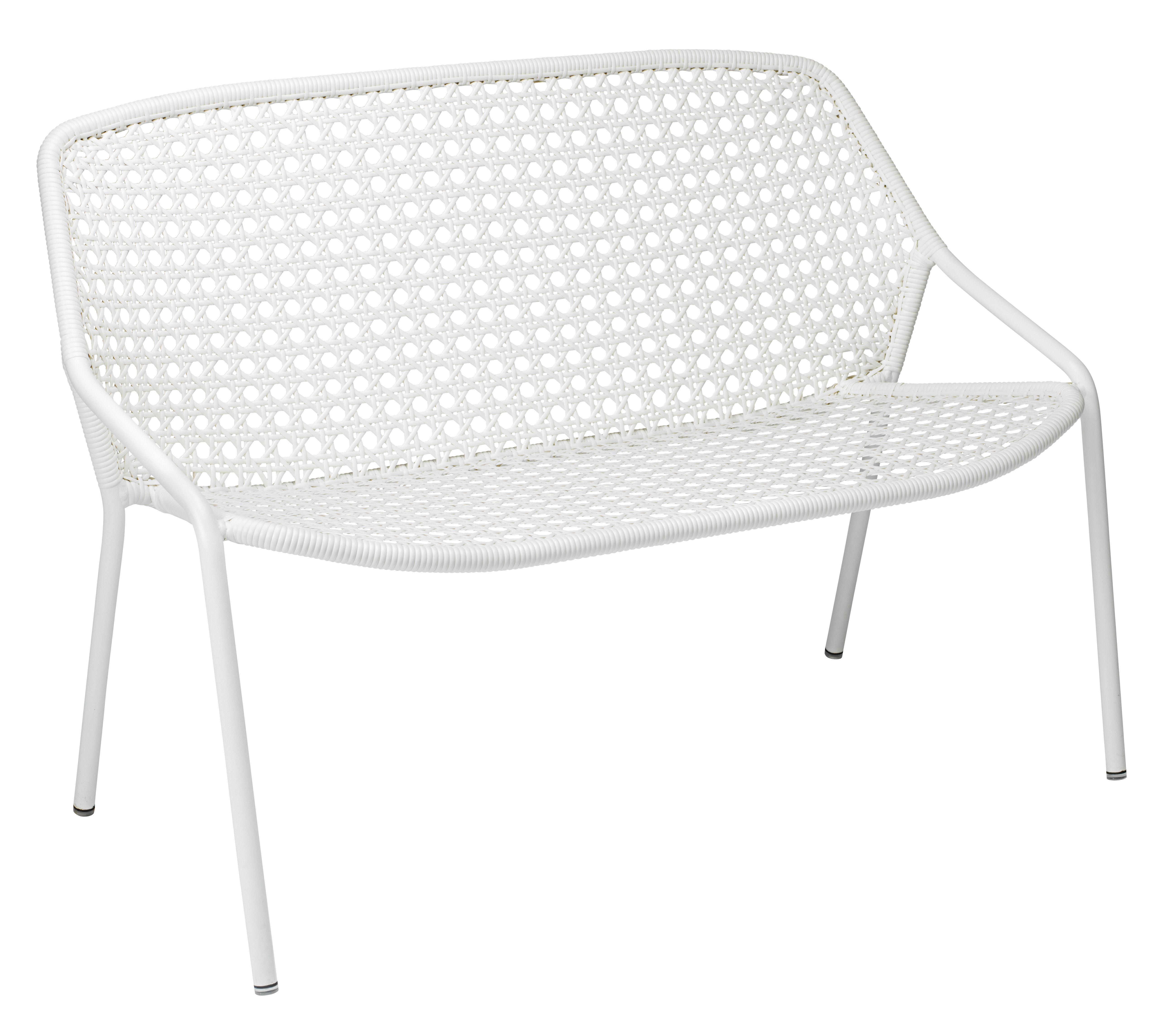 Outdoor - Canapés - Canapé 2 places Croisette / L 122 cm - Plastique tressé - Fermob - Blanc Coton -   Fibres synthétiques, Aluminium
