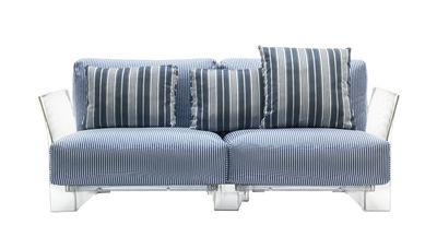 Mobilier - Canapés - Canapé droit Pop outdoor / 2 places - L 175 cm - Kartell - Rayé bleu - Polycarbonate, Polyuréthane expansé, Tissu acrylique