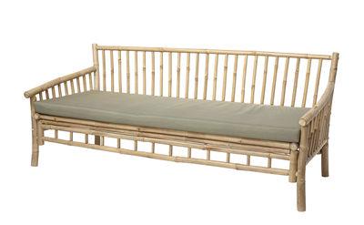 Mobilier - Canapés - Canapé droit Sole Bambou /  L 175 cm - Avec coussin - Bloomingville - Bambou / Coussin rayé beige - Bambou