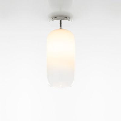 Lighting - Ceiling Lights - Gople Mini Ceiling light - / Glass - H 35 cm by Artemide - White / Transparent gradient - Aluminium, Metallized blown glass