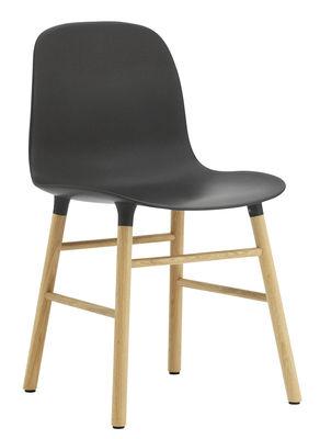 Furniture - Chairs - Form Chair - Oak leg by Normann Copenhagen - Black / oak - Oak, Polypropylene