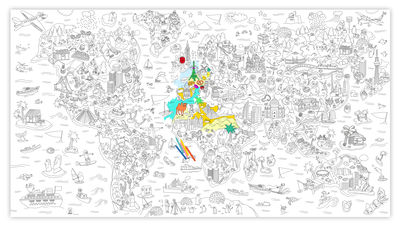 Decoration - Children's Home Accessories - XXL Atlas Colouring poster - / Giant - L 180 x 100 cm by OMY Design & Play - Black, White - Paper