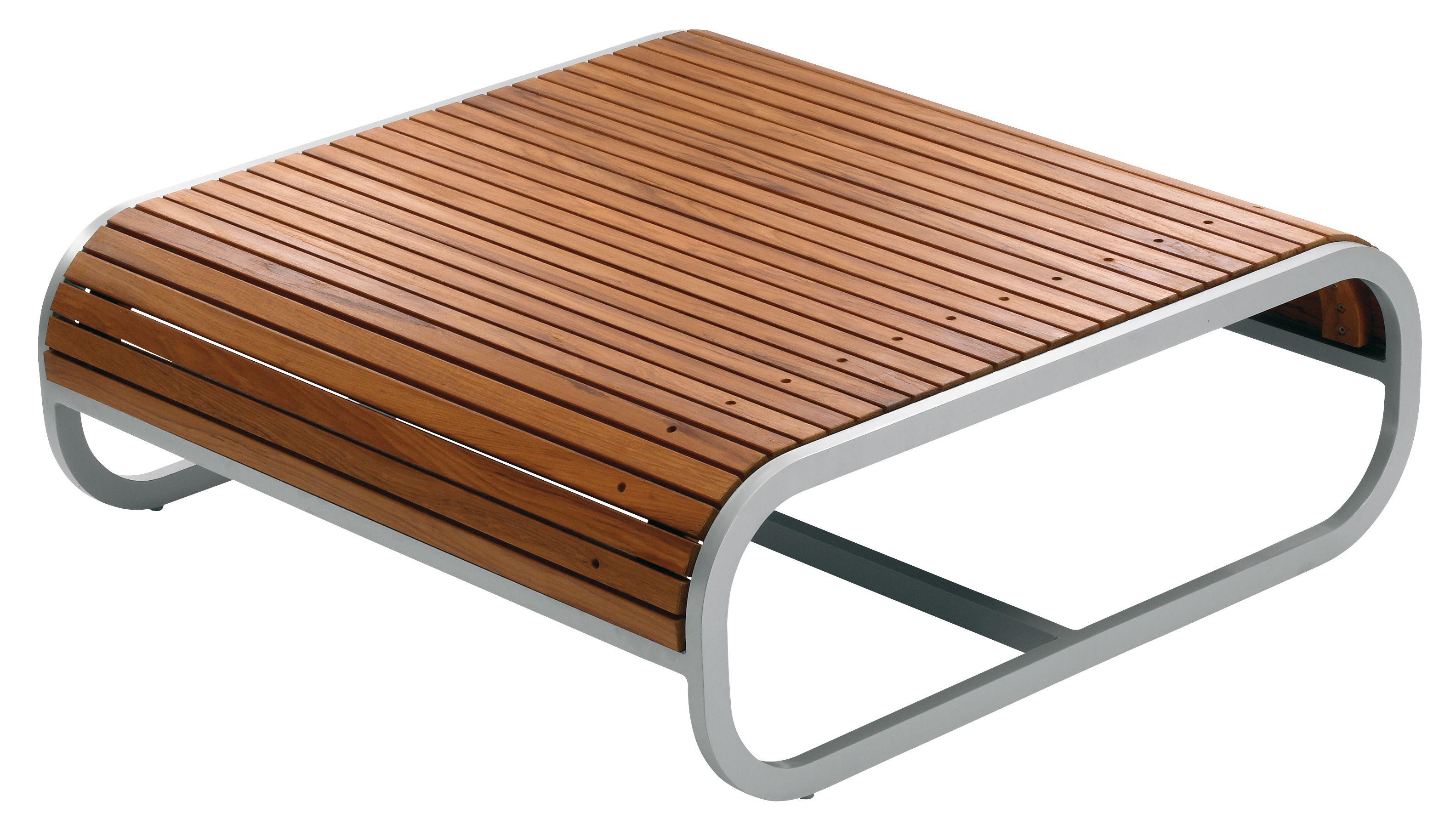 Möbel - Couchtische - Tandem Couchtisch Teak-Ausführung - EGO Paris - Teak - lackiertes Aluminium, Teakholz