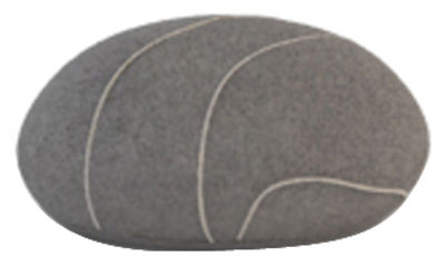 Coussin Pierre Livingstones / Laine - 30x27 cm - Smarin gris foncé en tissu