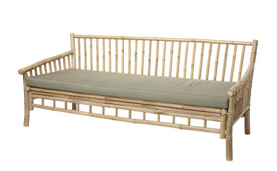 Arredamento - Divani moderni - Divano destro Sole - / Bambù - L 175 cm di Bloomingville - Bambù / Cuscino a righe beige - Bambù