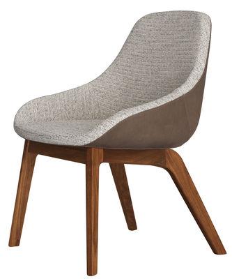 Mobilier - Chaises, fauteuils de salle à manger - Fauteuil rembourré Morph Dining / Dossier cuir - Zeitraum - Noyer  / Dossier cuir marron / Tissu gris - Noyer massif