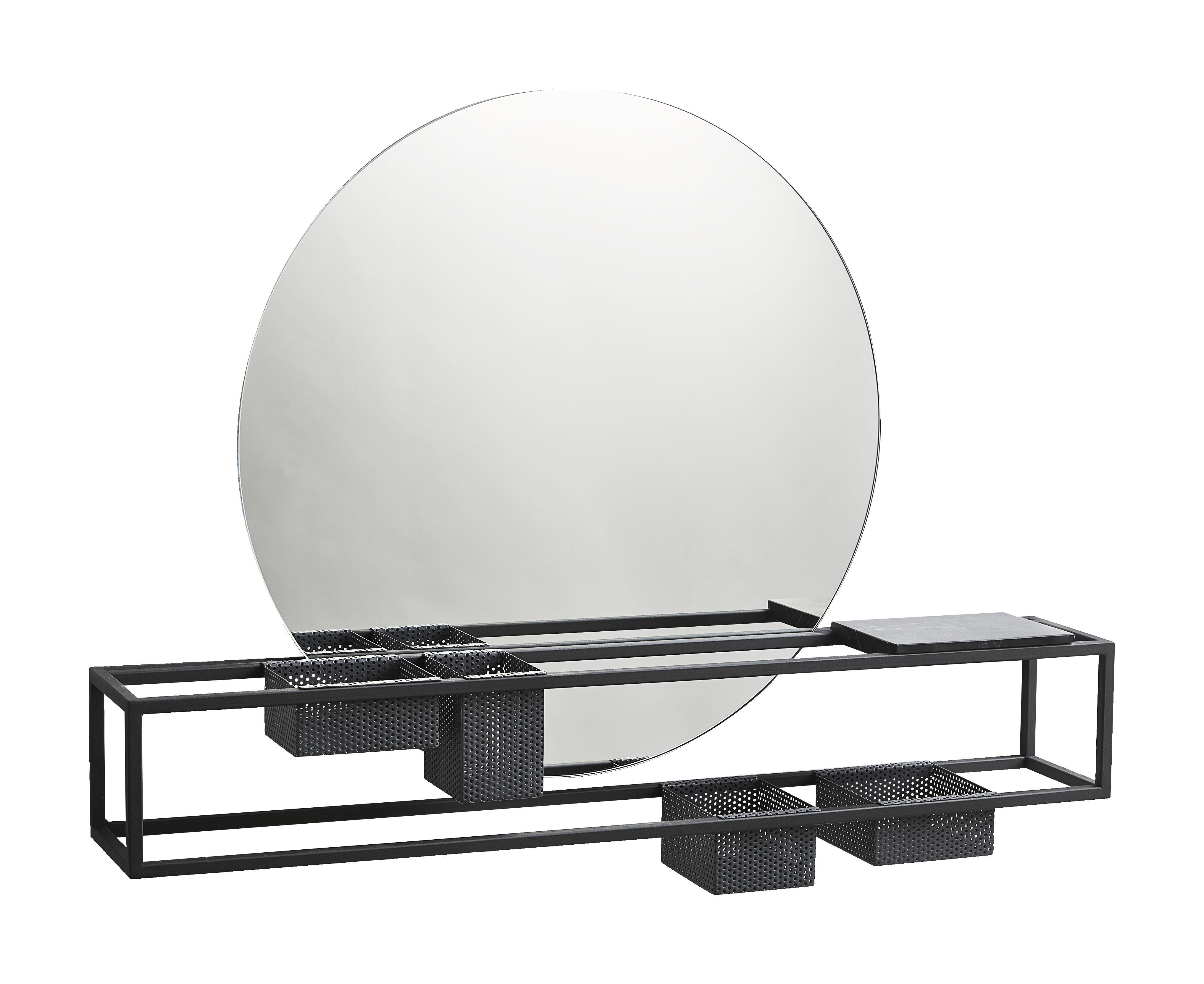 Mobilier - Etagères & bibliothèques - Miroir Mirror Box / Rangements intégrés - L 75 cm - Woud - Noir - Marbre, Métal laqué, Verre