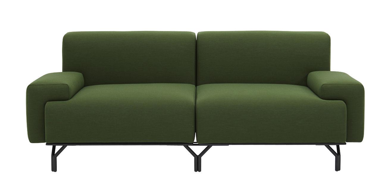 Furniture - Sofas - Summit Modular sofa - Articulated - L 197 cm by Casamania - Cactus - Fabric, Leather, Metal, Polyurethane foam