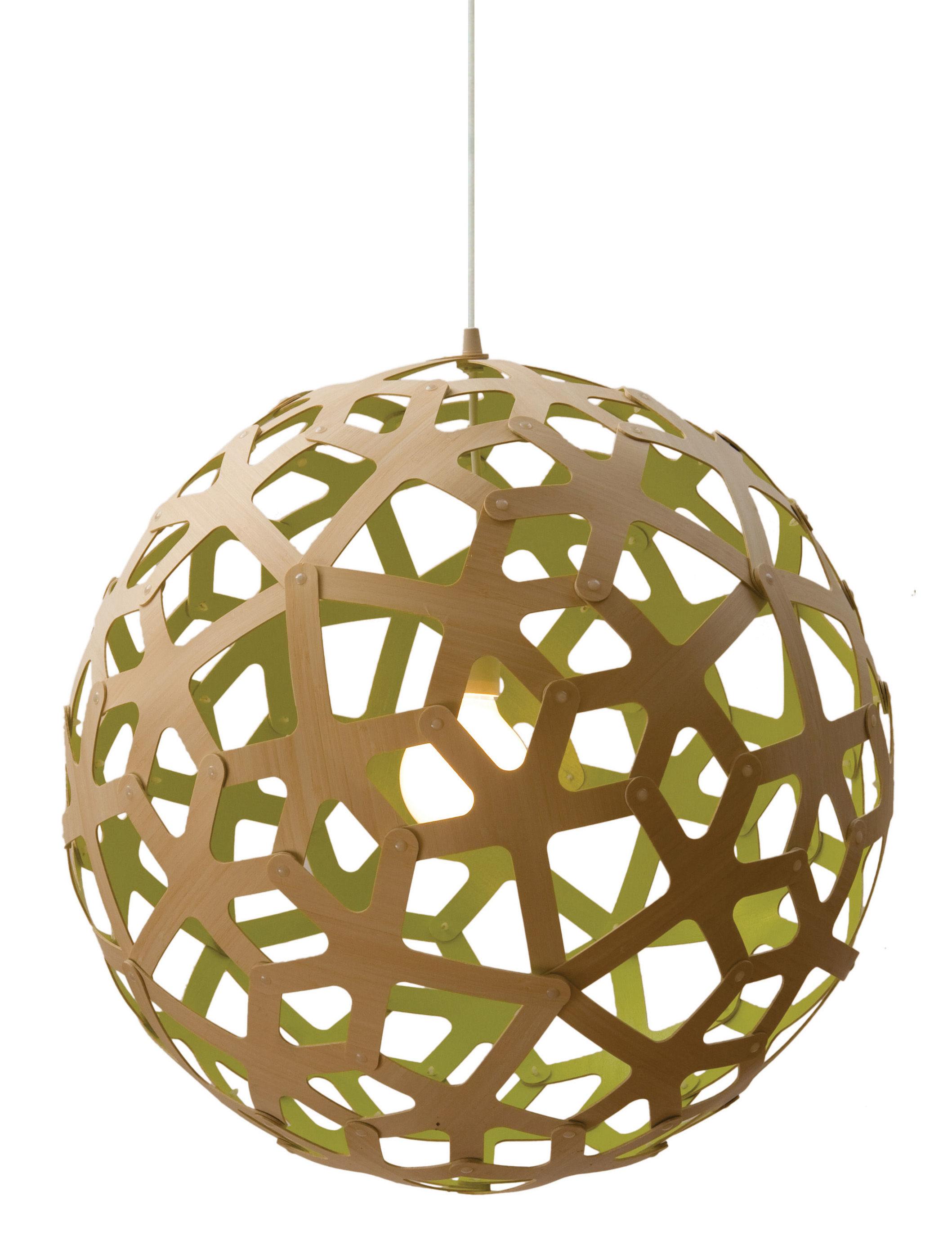 Leuchten - Pendelleuchten - Coral Pendelleuchte Ø 60 cm - Zweifarbig - Exklusiv - David Trubridge - Zitronengelb / Holz natur - Kiefer